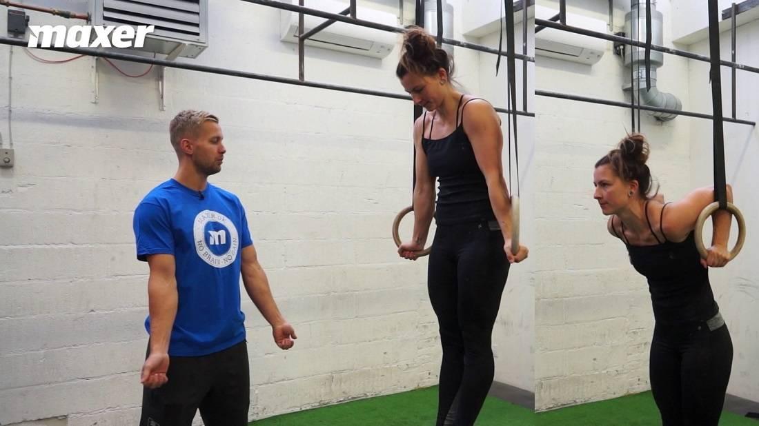 Dips i ringene giver dig pressestyrken, som er nødvendig i toppen af en muscle up.
