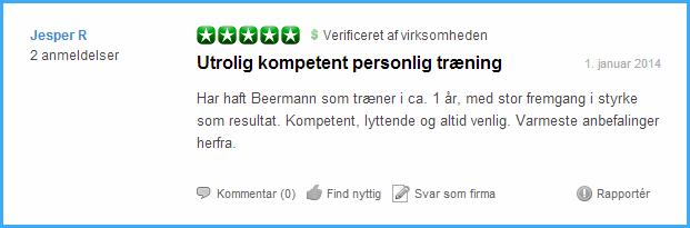 Anmeldelser fra Trustpilot om personlig træning på Vesterbro.